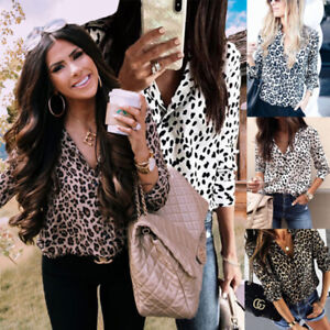 Women Summer Long Sleeve Leopard OL Office Shirt Button V Neck Casual Blouse