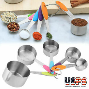 10pcs Stainless Steel Measuring Cups Spoons Kitchen Baking Cooking Tools Set NEW