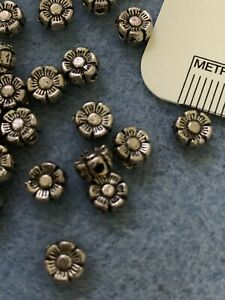 100 Tibetan Antiqued Silver 5mm Daisy Flower Flat Round Coin Spacer Beads