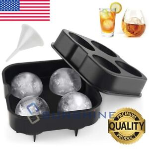 2 Large Round Silicone Ice Cube Ball Maker Tray Sphere Molds Bar WhiskeyFunnel