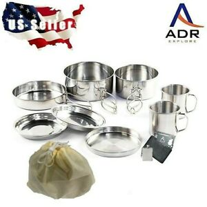 10 piece stainless steel camping hiking backpacking picnic cookware set.