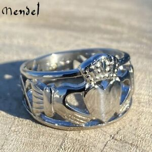 MENDEL Stainless Steel Mens Celtic Irish Claddagh Wedding Band Ring Size 7 15 $9.99