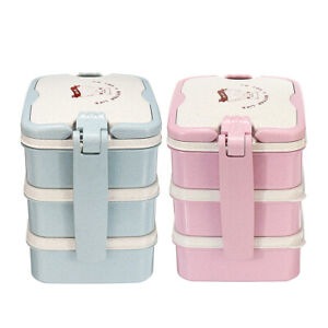 Wheat Straw Bento Lunch Box Portable Picnic Food Container Kids Adult Spoon  USA