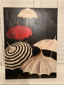 Large Oil Painting On Canvas 32in x 42in : Umbrellas $10.00