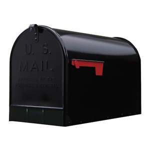 Stanley Extra-Large Galvanized Steel Post-Mount Mailbox, Black