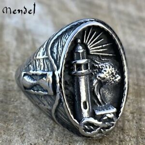 MENDEL Mens Stainless Steel Nautical Lighthouse Hourglass Marine Ring Size 8 15 $11.99