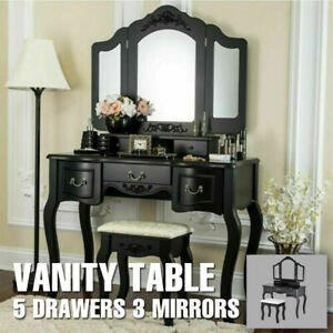 5 Drawers 3 Mirrors Vanity Makeup Dressing Table Set With Stool Wood Desk Black