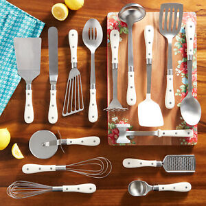 Pioneer Woman 15-Piece Kitchen Cooking Utensil Tool and Gadget Set, Linen - NEW!