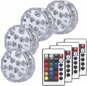 4X Led Lights Remote Control Color Colored Boundery Style Waterproof Efx Accent