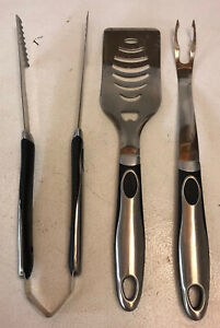 Hayco Grill Tool Set 3 Pack Stainless Steel Grilling Utensils Spatula Tong, Fork