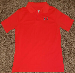 Under Armour Boys S S Heat Gear Loose Fit Polo Shirt Youth Large Orange $14.99