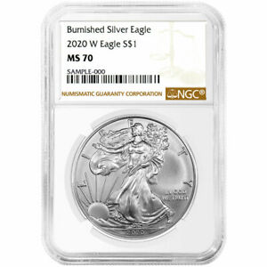 Presale - 2020-W Burnished $1 American Silver Eagle NGC MS70 Brown Label $84.95