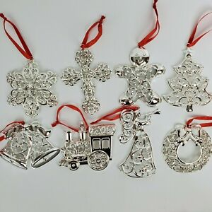 Lenox Sparkle & Scroll Silver-plated Clear Crystal Ornament Set of 8 New in Box