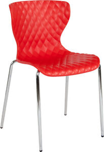 Flash Furniture Chrome And Plastic Chair In Red Finish LF 7 07C RED GG