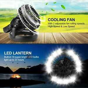 Portable Tent LED Light Lamp Fan Camping Hiking Outdoor Ceiling Battery Operated
