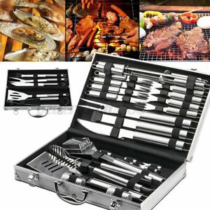 5/26Pcs BBQ Tool Barbecue Grill Tools Set Kit Stainless Steel With Aluminum Case