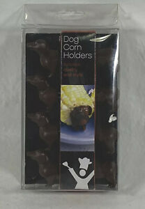 Set Of 4  Wiener Dog Corn Cob Holders Dachshund Stainless Steel Prongs