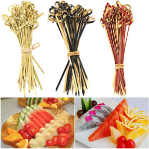 100x Bamboo Drink Cocktail Stick Stirrer Fruit Sandwich Pick Toothpick 9-15cm