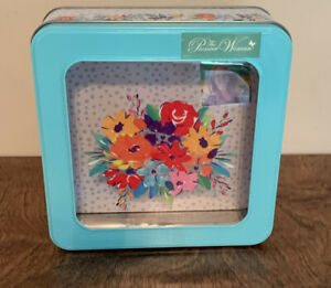 New The Pioneer Woman Floral Window Tin Treat Container