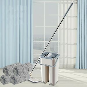 Flat Squeeze Mop And Bucket Hand Free Wringing Floor Cleaning Mops + 4 Pads USA