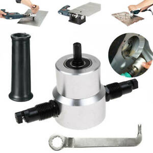 Double Head Sheet Metal Nibbler Cutter Drill Attachment Kit With Wrench And Part