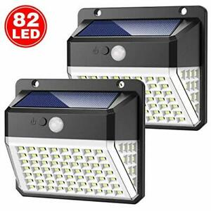 Solar Lights Outdoor Upgraded 82 LED Security Lights 3 Modes Wireless Motion ...