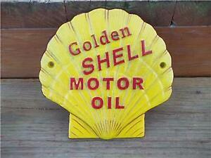 CAST IRON GOLDEN SHELL MOTOR OIL CLAM WALL SIGN PLAQUE GAS amp; OIL COLLECTIBLE