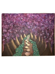 Original Mystical Forest Walkway Acrylic Painting 30x24 in.