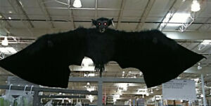 Halloween Decoration Hanging Bat Scary Lighted LED Eyes 8ft Wingspan