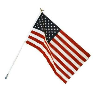 American Flag Kit Includes Flag White Steel Pole w Eagle and Mounting Bracket