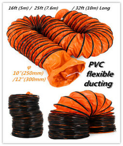 Flexible Duct Hosing ⌀8/10/12 Inch L16~32FT 7.6m Easy Transport Quick Connect