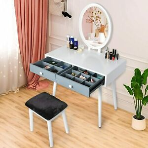 Vanity Sets with Lighted Mirror and Bench Dressing Table Makeup Vanity Table Set