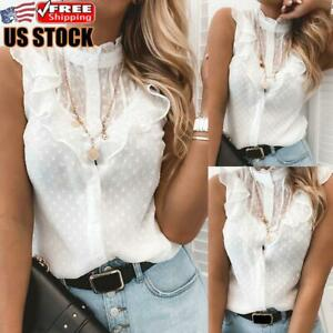 Womens Lace Ruffle Sleeve Vest Tank Tops Ladies Summer Casual T Shirt Blouse $16.04