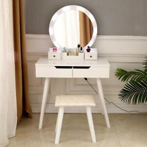 Makeup Vanity Jewelry Dressing Table Set Led Round Mirror Stool Desk w/ Drawer