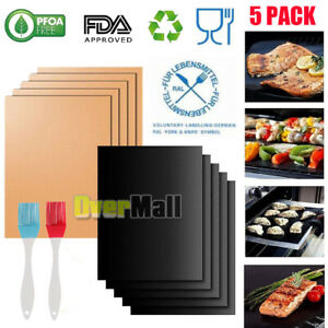 BBQ Grill Mat Copper Set of 5 - Heavy Duty Non-Stick Reusable Grilling,USA SELLE