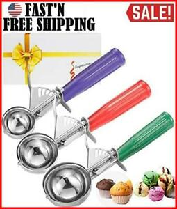Cookie Scoop Set, Ice Cream 3 PCS Scoops Trigger Include Large Medium Small Size