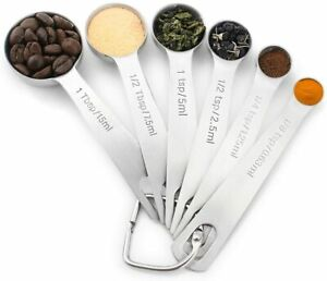 18/8 Stainless Steel Measuring Spoons Set of 6 for Measuring Dry