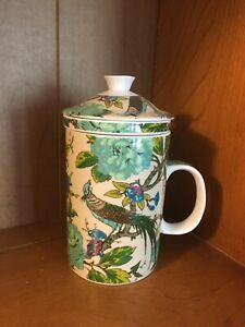 World Market Ceramic Tea Cup Mug with Lid and Infuser Floral Peacock