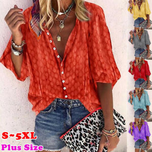Women Summer Casual Short Sleeve T Shirt V Neck Tops Floral Loose Blouse $14.87