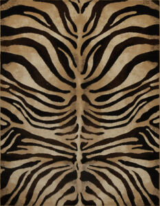 Modern Zebra Stripes Area Rug 8x11 Animal Skin Print Carpet-Actual 7'10