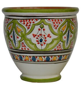Flower Pot Moroccan Spanish Garden Drain Hole Ceramic Terracotta Planter Plant