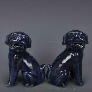 Chinese Old Pair Sacrificial Blue Glaze Porcelain Foo Dogs Statues $47.99