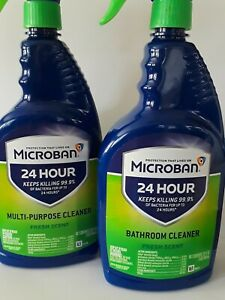 Two Microban 24 Hour Bathroom Cleaner and multipurpose Citrus cleaner 32oz