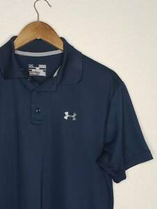12 1 Mens Under Armour Heatgear Loose Fit Polo Golf Shirt Size Med Blue $4.00