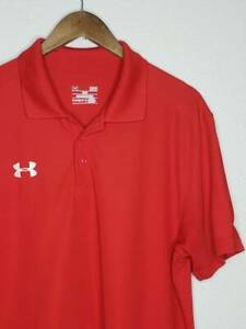 12 1 Mens Under Armour Heatgear Loose Fit Polo Golf Shirt Size LG Red $4.00