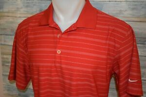 NIKE GOLF DRI FIT Men's S S Polyester Polo Shirt Red Striped Size Medium $10.50