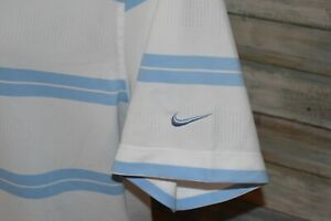 NIKE GOLF DRI FIT Men's S S Polyester Mesh Polo Shirt Blue Striped Size Large $9.00