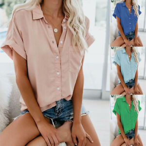 Summer Womens Casual Short Sleeve Button T Shirt Solid Tops Size Plus Blouse
