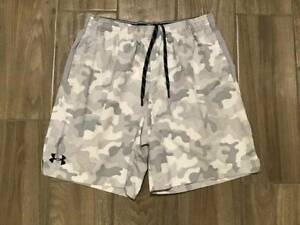 12 6 Mens Under Armour Heatgear Loose Fit Camo Running Shorts Size LG White $4.00