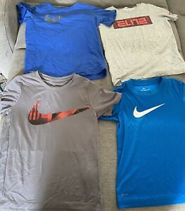 Lot of 4 Nike Boys SS Athletic Shirts Size Youth Small Loose Blue Grey Dri Fit $25.00